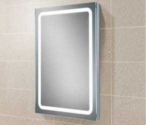 Scarlet LED back-lit illuminated mirror