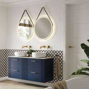 2x Solstice 60 Brushed Brass LED Bathroom Mirror