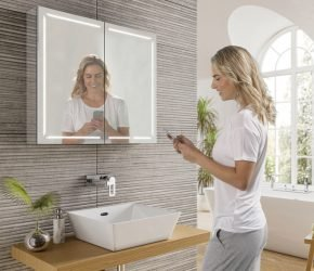 Groove 80 LED illuminated mirror