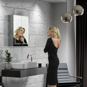 led border mirrored cabinet