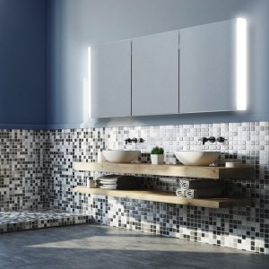 ambient white light bathroom cabinet