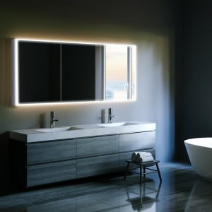sensor-activated LED bathroom cabinet