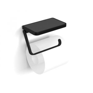 The Black Atto Toilet Roll Holder with Shelf & Anti-Slip Mat