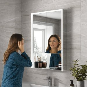 illuminated bathroom mirrored cabinet