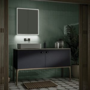 Exos 60 LED bathroom cabinet with two pin charging socket and USB Charging Socket