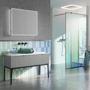 Isoe 80 LED Bathroom Cabinet with Toothbrush Charger
